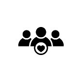 User group icon with heart shape