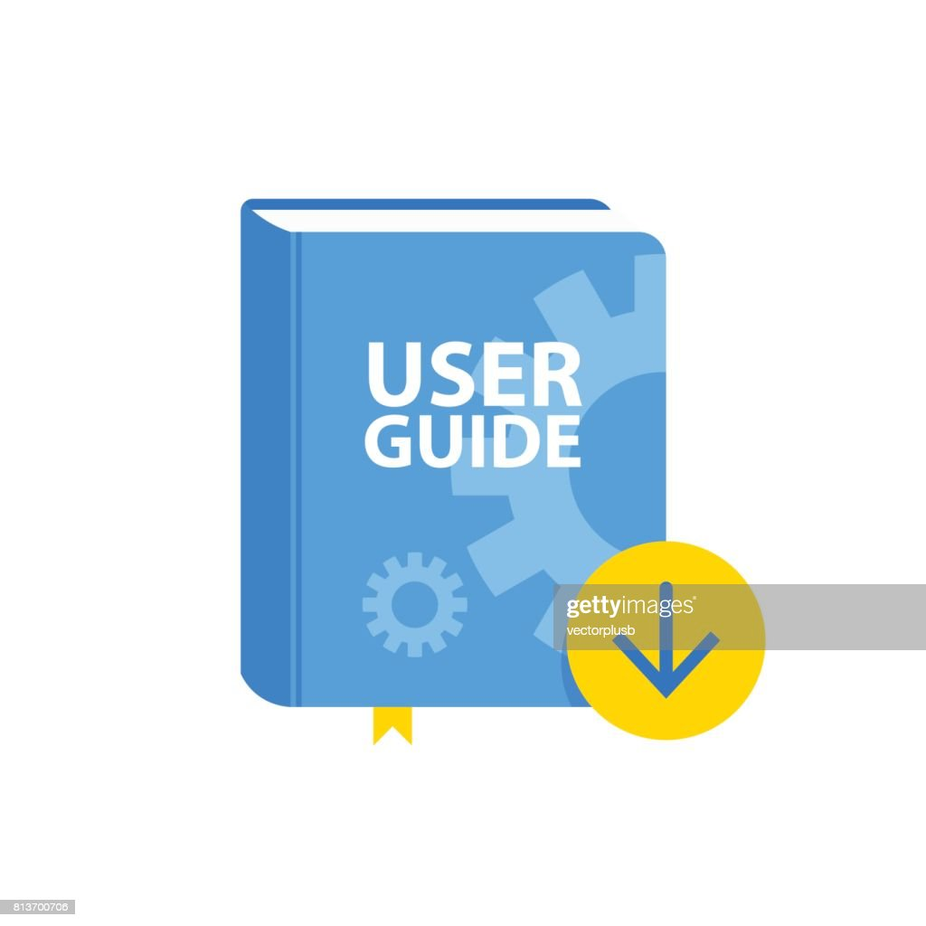 User Guide book download icon. Flat vector illustration