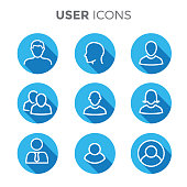 User Icon Set with Man, Woman, & Multiple People