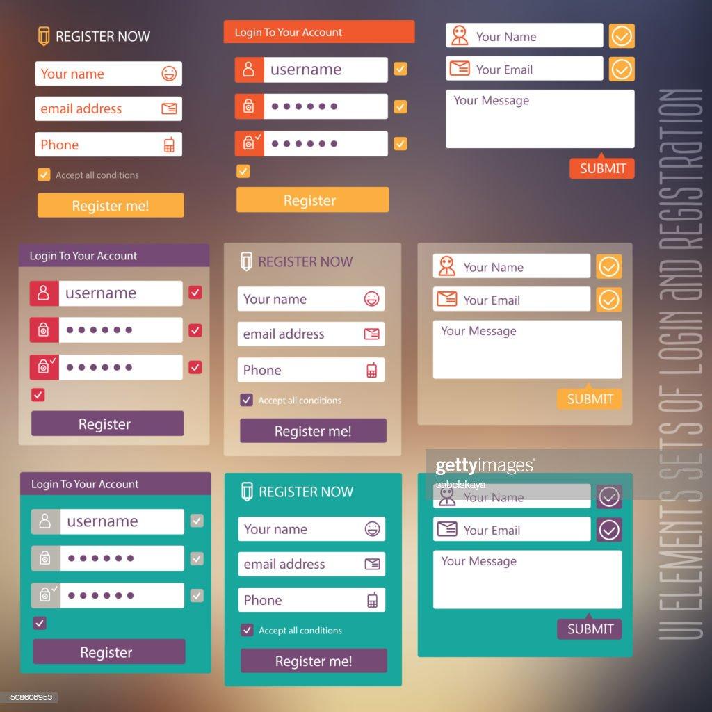 Conjunto de elementos de interfaz de usuario de inicio de sesión y formulario de registro con pantalla plana : Arte vectorial