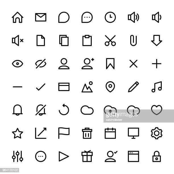 user interface line icon set black - plus sign stock illustrations, clip art, cartoons, & icons