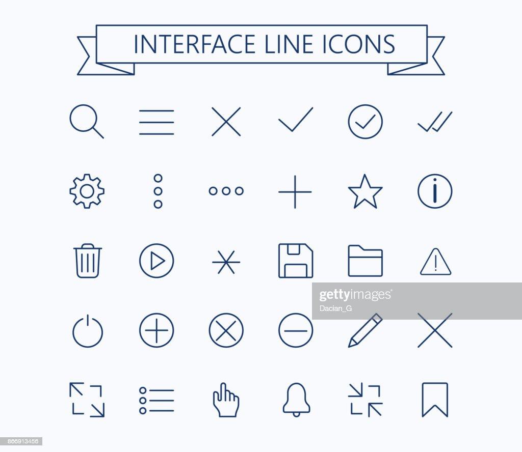 User interface line mini  icons .Editable stroke.24px
