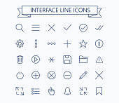 User interface line mini  icons .Editable stroke.24px