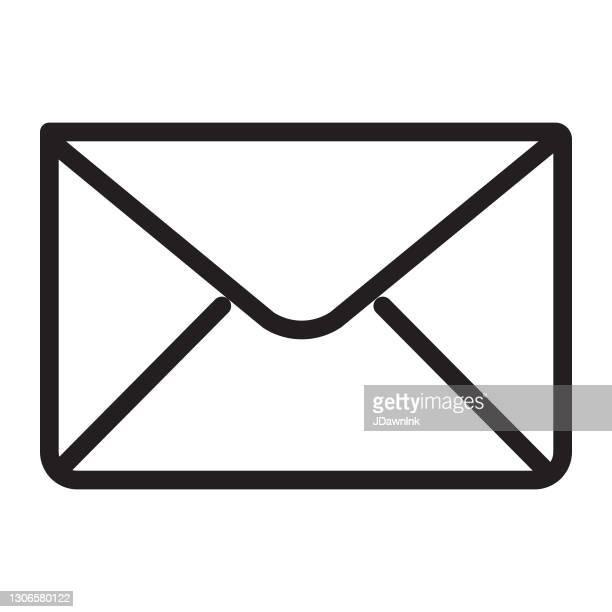 stockillustraties, clipart, cartoons en iconen met gebruikersinterface menu e-mail pictogram concept dunne lijn stijl - bewerkbare lijn - e mail