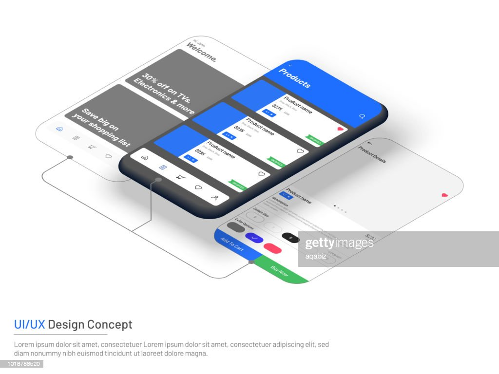User Interface (UI) or User Experience (UX) in e-commerce, website wireframe for mobile apps software or technology concept based.