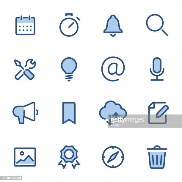user interface - pixel perfect blue line icons - deadline stock illustrations