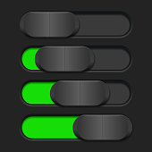 User interface slider. Green and black control bar