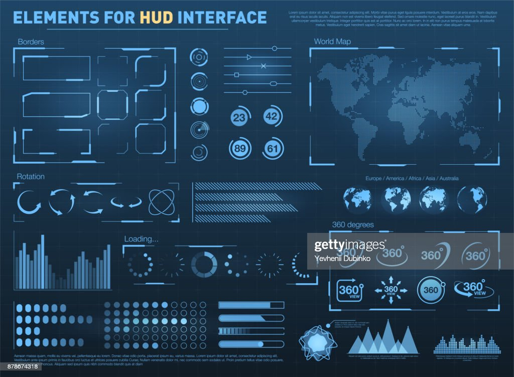 HUD user interface with vector elements. Interactive screen with control panel. Futuristic HUD UI