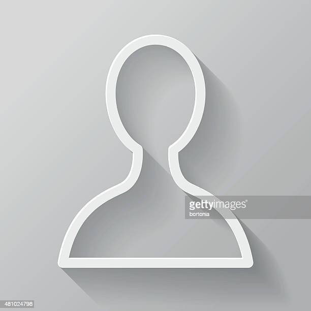 User Paper Thin Line Interface Icon With Long Shadow
