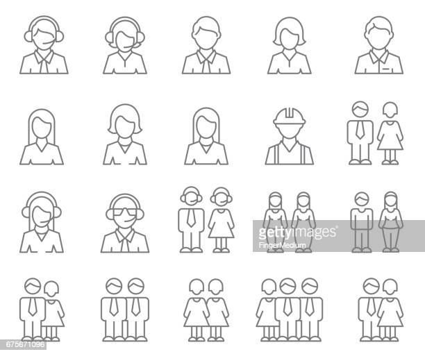 user profile icon set - avatar stock illustrations