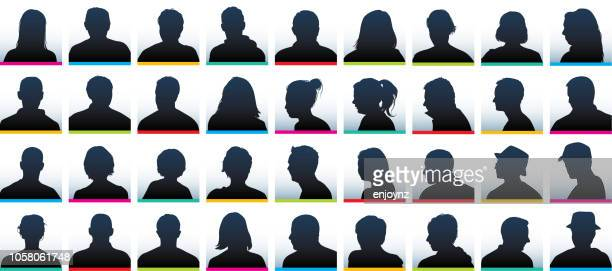 user profile silhouettes - close up stock illustrations