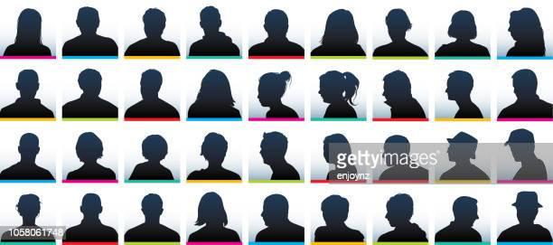 user profile silhouettes - headshot stock illustrations
