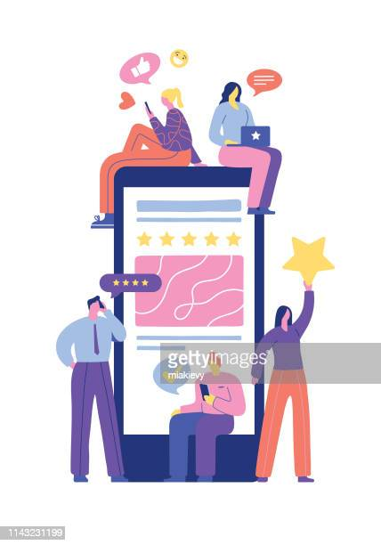 user rating and feedback - mobile phone stock illustrations