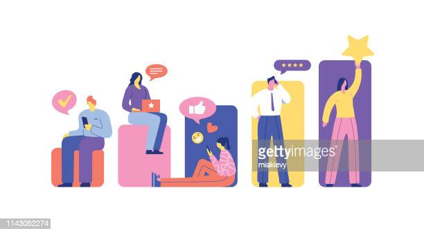 user ratings and reviews - using phone stock illustrations