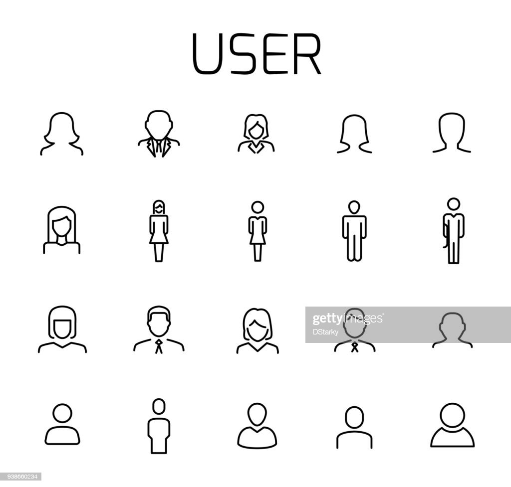 User related vector icon set.