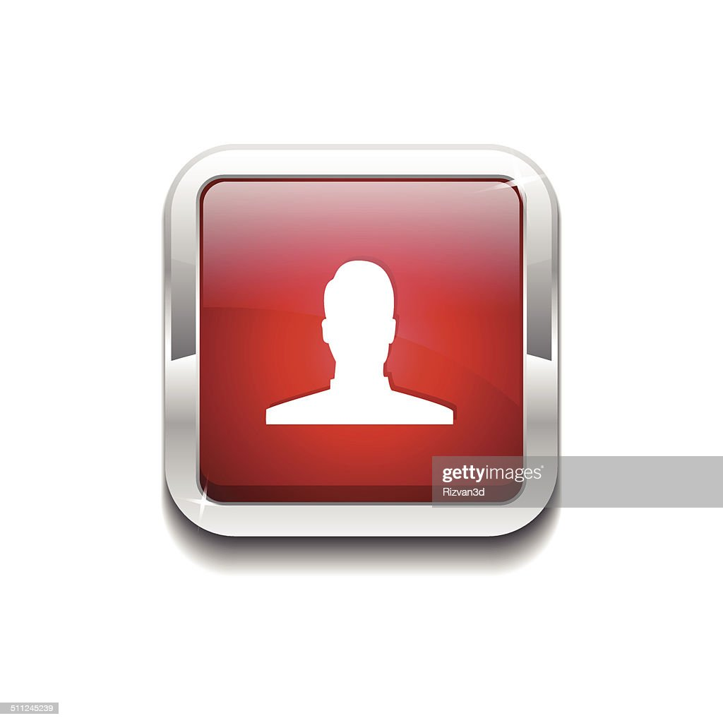 User Rounded Rectangular Vector Red Web Icon Button
