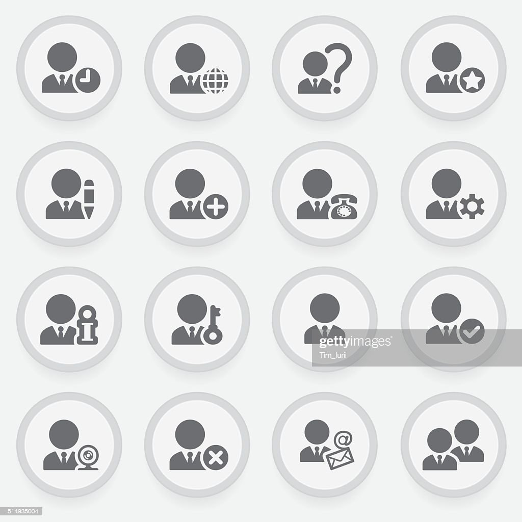 Users black icons on stickers. Flat design.