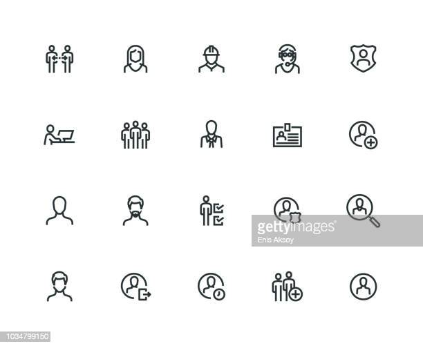 users icon set - thick line series - thick stock illustrations
