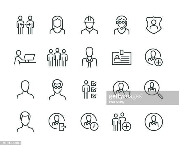 users icon set - human face stock illustrations
