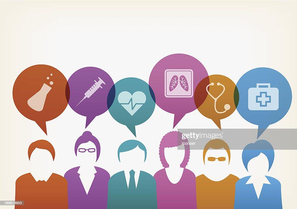 Los usuarios con burbujas médica : Ilustración de stock