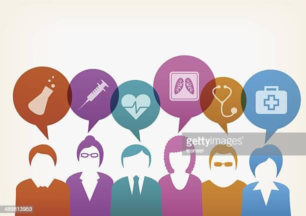 ilustraciones, imágenes clip art, dibujos animados e iconos de stock de los usuarios con burbujas médica - trabajador sanitario