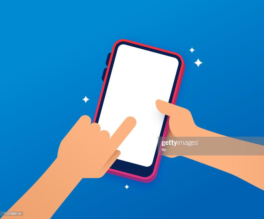 Met behulp van een mobiel apparaat : Stockillustraties