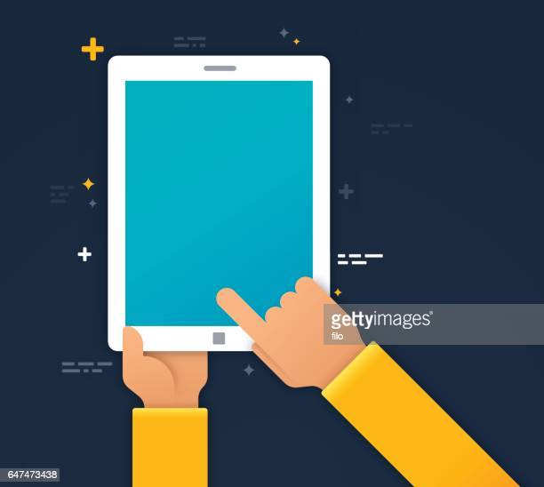 using a mobile device - holding stock illustrations, clip art, cartoons, & icons