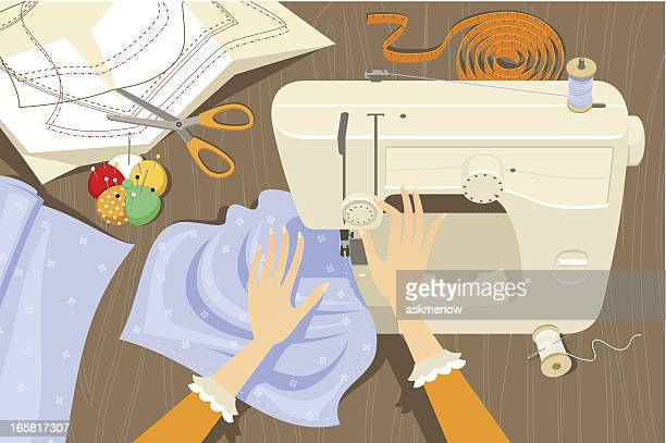 using a sewing machine - textile industry stock illustrations