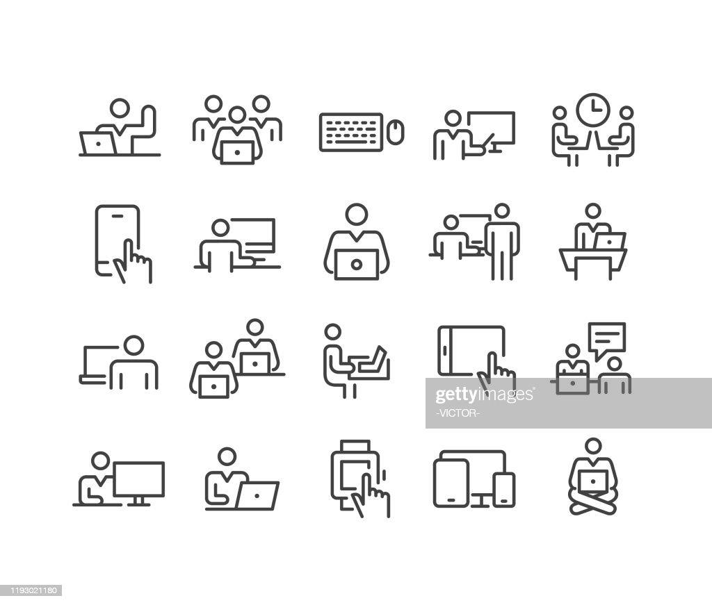 Verwenden von Computersymbolen - Classic Line Series : Stock-Illustration