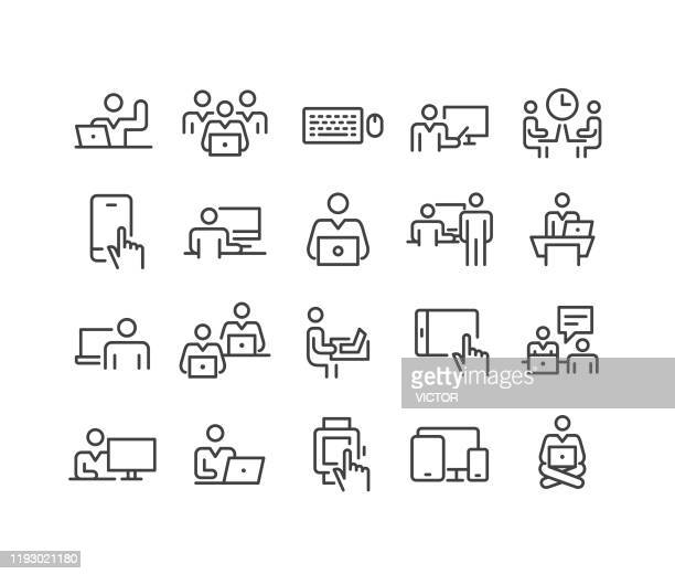 stockillustraties, clipart, cartoons en iconen met pictogrammen op computers gebruiken-classic line series - eén persoon