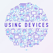 Using devices concept in circle with thin line icons: gadget, tablet in hands, touchscreen, fingerprint, laptop, wireless headphones. Modern vector illustration for banner, web page, print media.