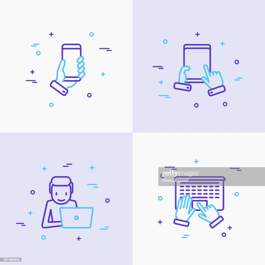 Using devices thin line icons set: gadget, tablet in hands, touchscreen, laptop. Modern vector illustration.