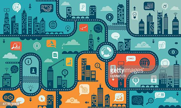 using internet for business endless pattern - board game stock illustrations
