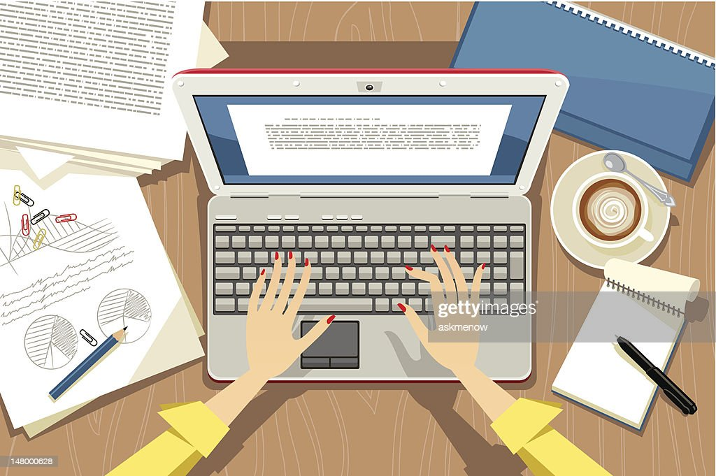 Using laptop : stock illustration