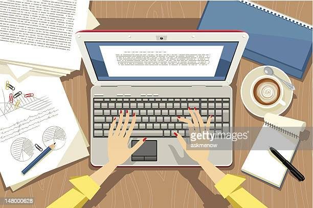 using laptop - authors stock illustrations