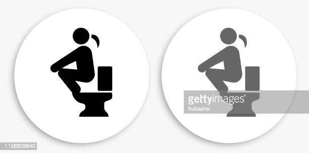 using the toilet black and white round icon - defecating stock illustrations, clip art, cartoons, & icons