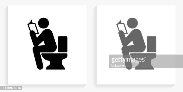 using the toilet black and white square icon - defecating stock illustrations, clip art, cartoons, & icons