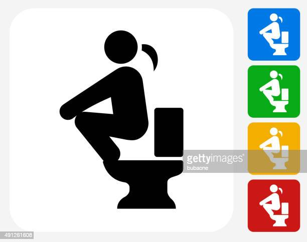using the toilet icon flat graphic design - hovering stock illustrations