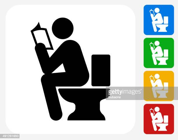 using the toilet icon flat graphic design - defecating stock illustrations, clip art, cartoons, & icons