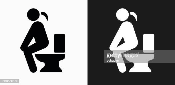 using the toilet icon on black and white vector backgrounds - defecating stock illustrations, clip art, cartoons, & icons