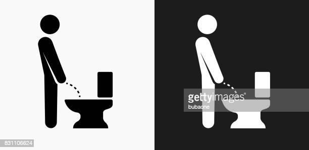 ilustraciones, imágenes clip art, dibujos animados e iconos de stock de mediante el icono de baño en blanco y negro vector fondos - orina