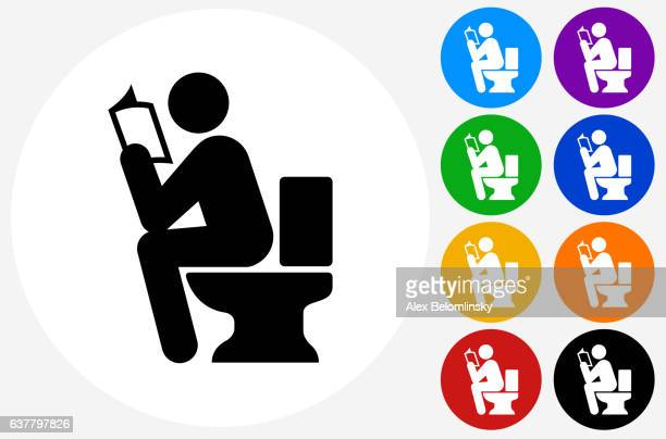 using the toilet icon on flat color circle buttons - defecating stock illustrations, clip art, cartoons, & icons