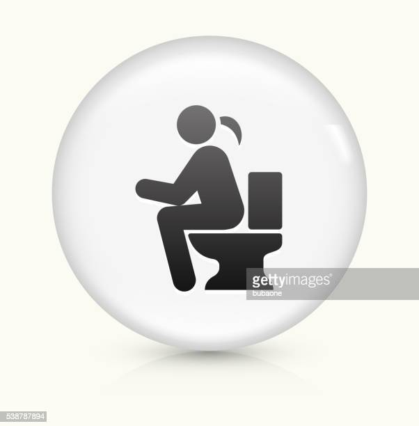 using the toilet icon on white round vector button - defecating stock illustrations, clip art, cartoons, & icons