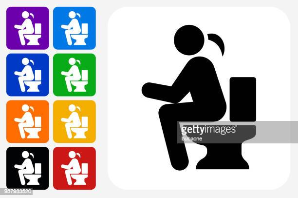 using the toilet icon square button set - defecating stock illustrations, clip art, cartoons, & icons