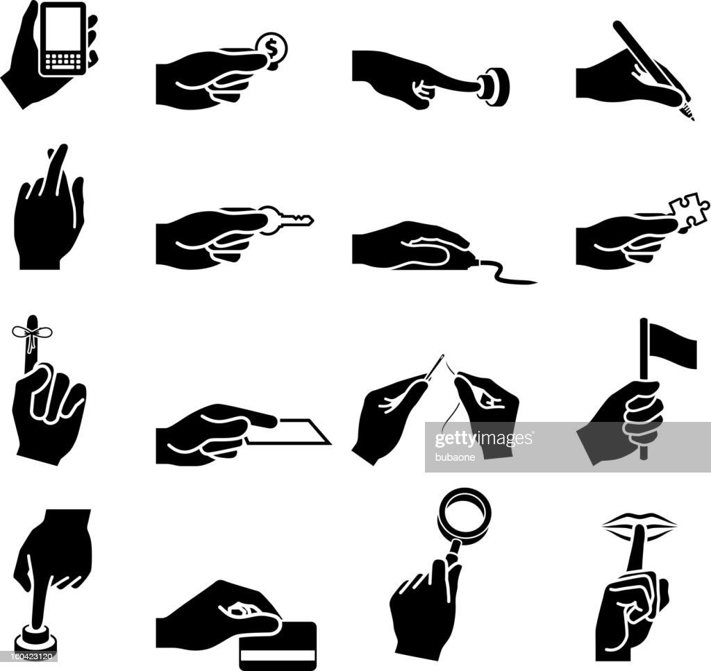 Using Your Hands black and white vector icon set