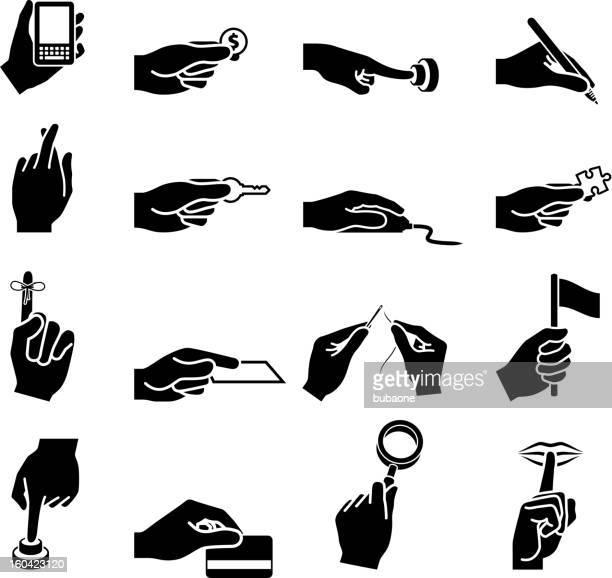 ilustrações, clipart, desenhos animados e ícones de usando as mãos preto e branco. vector conjunto de ícones - silêncio