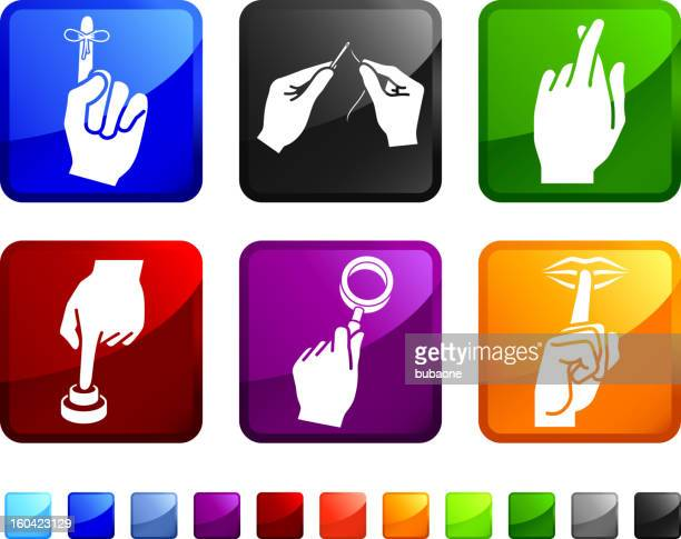 Using Your Hands royalty free vector icon set stickers