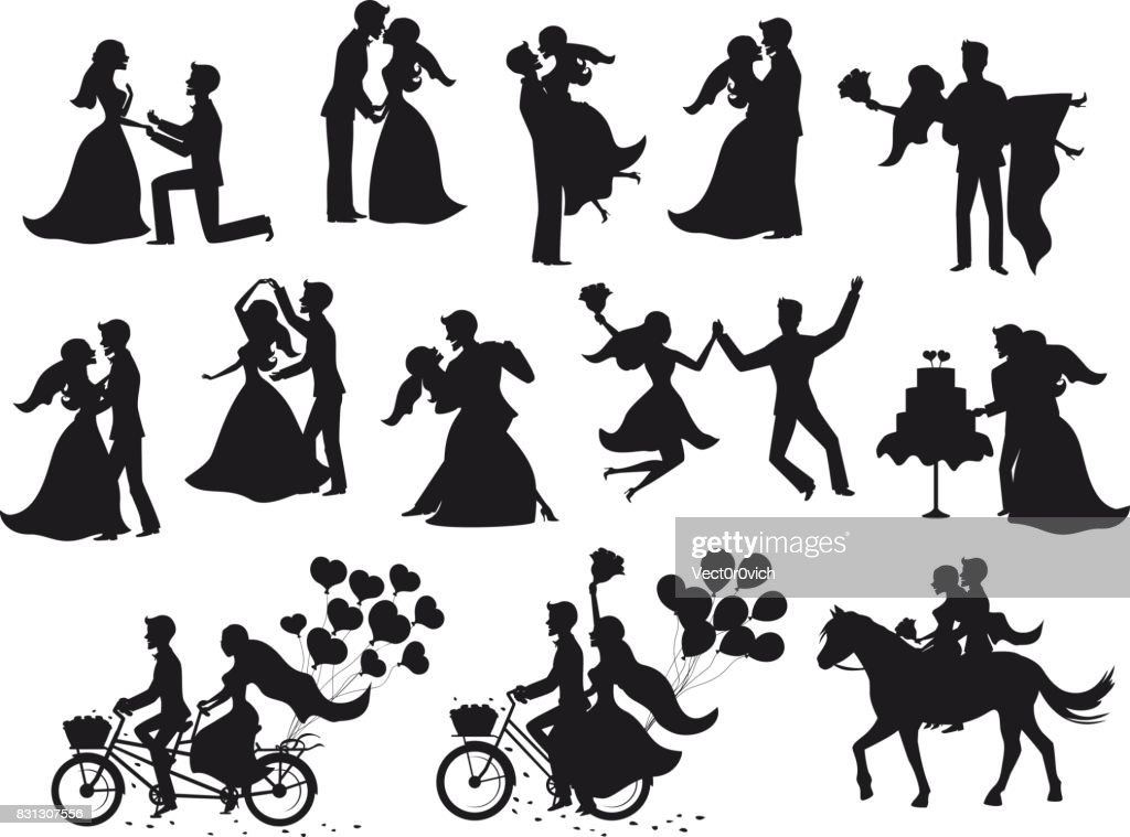 ust married , newlyweds, bride and groom  silhouettes set.
