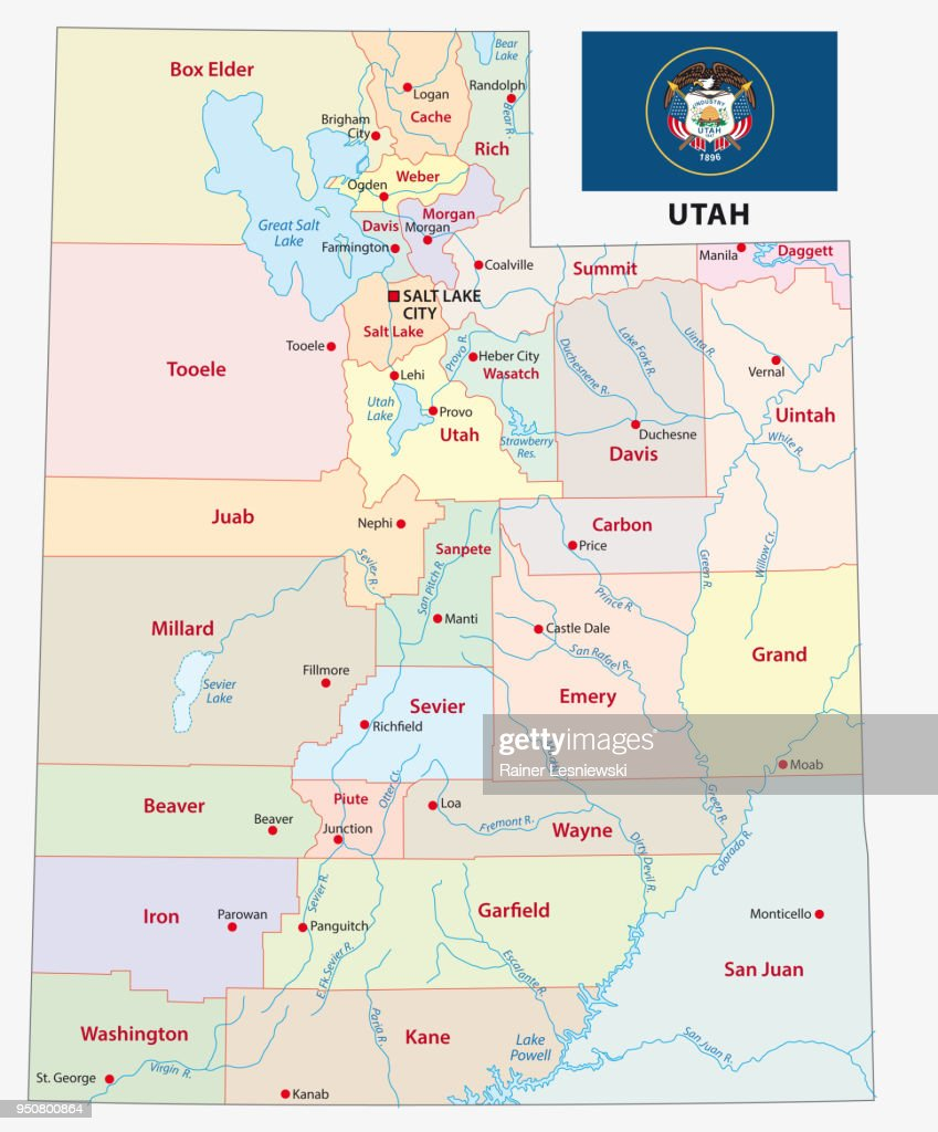 utah administrative and political map with flag
