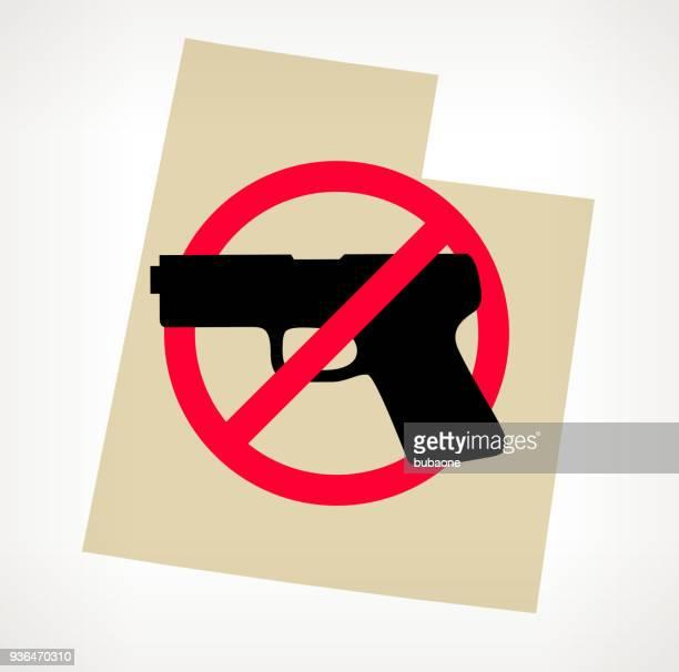 utah no gun violence vector poster - machine gun stock illustrations, clip art, cartoons, & icons